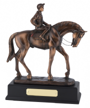 BRONZE PLATED PAWING HORSE AND JOCKEY FIGURE